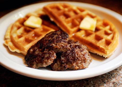 Sausage and waffles